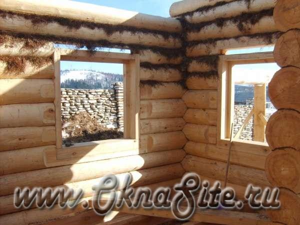 Деревянные окна в деревянном